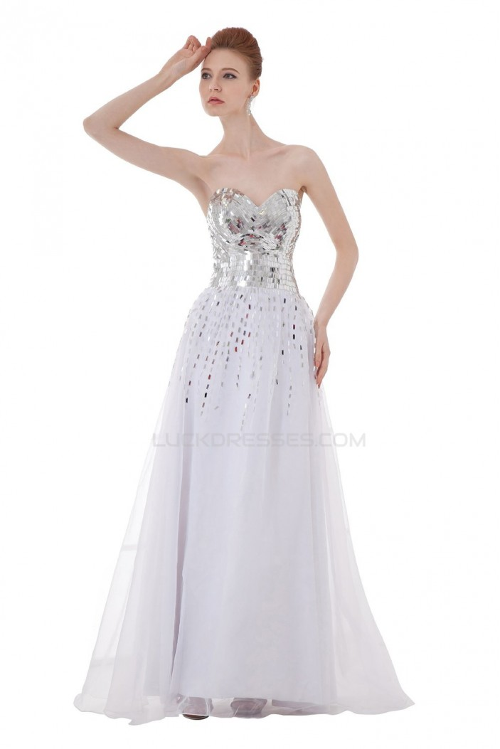 A-Line Sweetheart Beaded Long White Chiffon Prom Evening Formal Party Dresses ED010282