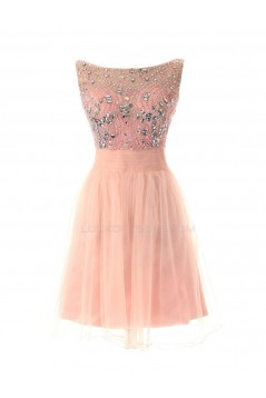 Beaded Short Pink Chiffon Prom Evening Formal Party Dresses ED010283