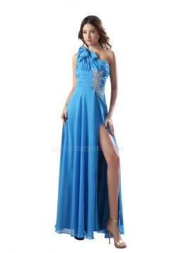 Long Blue One-Shoulder Beaded Chiffon Prom Evening Formal Party Dresses ED010284