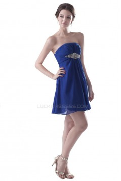 A-Line Strapless Short Blue Chiffon Prom Evening Formal Party Dresses ED010285