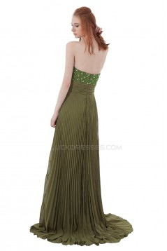 Beaded Long Chiffon Pleated Prom Evening Formal Party Dresses ED010288