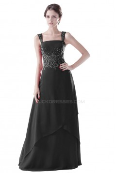 A-Line Beaded Long Black Prom Evening Formal Party Dresses ED010291