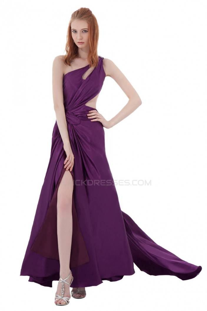 One-Shoulder Long Purple Chiffon Prom Evening Formal Party Dresses ED010293