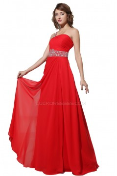 A-Line One-Shoulder Long Red Beaded Chiffon Prom Evening Formal Party Dresses ED010296