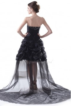 High Low Beaded Long Black Prom Evening Formal Party Dresses ED010297