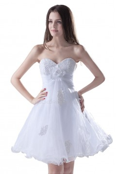 A-Line Sweetheart Beaded Short White Chiffon Prom Evening Formal Party Dresses ED010299
