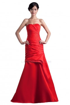 A-Line Strapless Long Red Prom Evening Formal Party Dresses ED010303