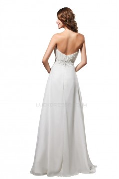 A-Line Strapless Long White Beaded Chiffon Prom Evening Formal Party Dresses ED010305