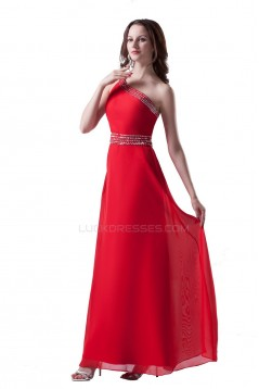 A-Line One-Shoulder Long Red Beaded Chiffon Prom Evening Formal Party Dresses ED010310