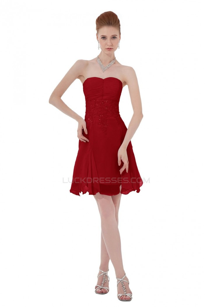 A-Line Short Red Chiffon Prom Evening Formal Party Dresses ED010312
