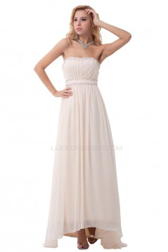 A-Line Strapless Long Beaded Chiffon Prom Evening Formal Party Dresses ED010313