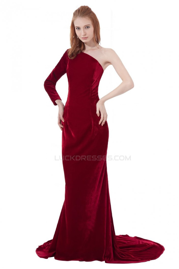 Trumpet/Mermaid One-Shoulder Long Prom Evening Formal Party Dresses ED010314