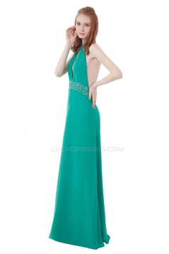A-Line Halter Beaded Long Chiffon Prom Evening Formal Party Dresses ED010316