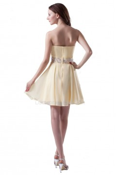 A-Line Sweetheart Short Yellow Beaded Chiffon Prom Evening Formal Party Dresses ED010317