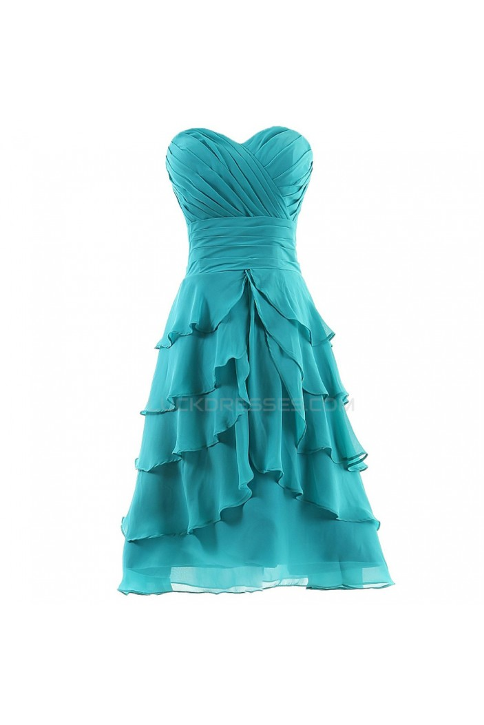 A-Line Sweetheart Short Blue Chiffon Prom Evening Formal Party Dresses ED010318