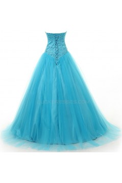 A-Line Sweetheart Beaded Long Tulle Prom Evening Formal Party Dresses ED010319