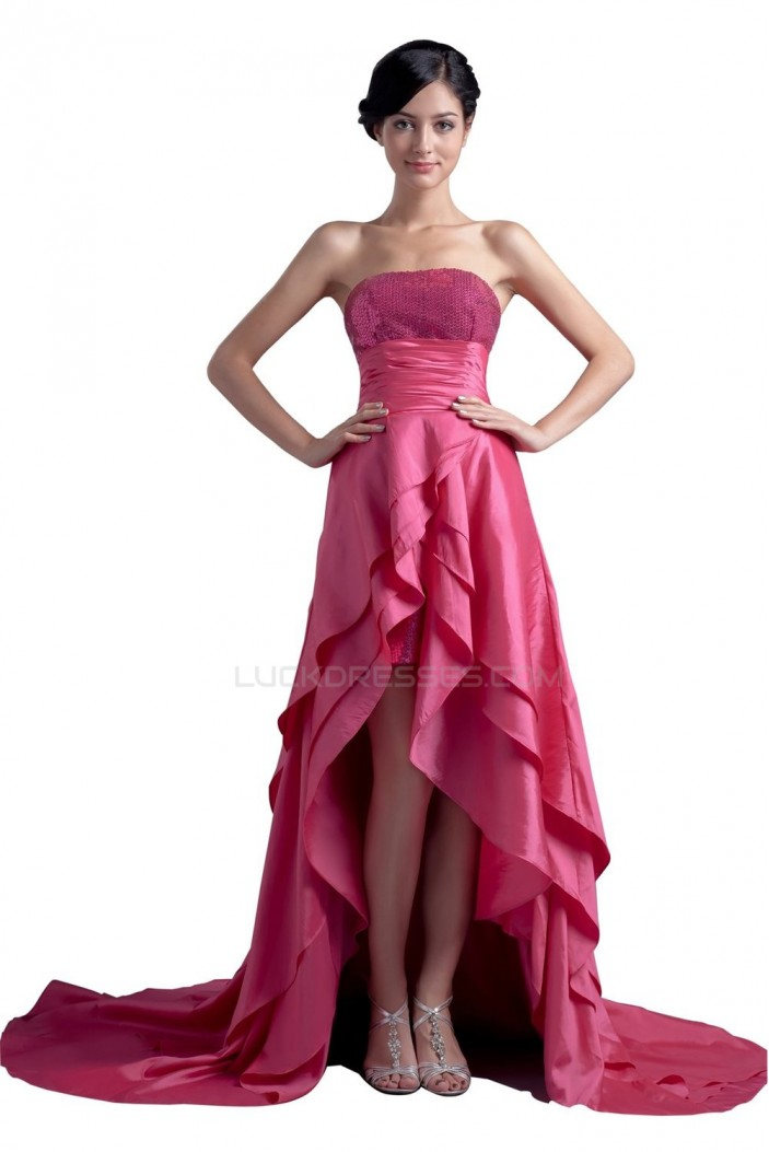 High Low Strapless Short Pink Prom Evening Formal Party Dresses ED010320