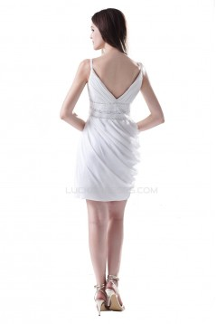 Short White Beaded Prom Evening Formal Party Dresses ED010323
