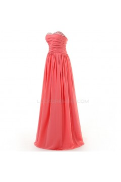 A-Line Sweetheart Beaded Long Chiffon Prom Evening Formal Party Dresses ED010324