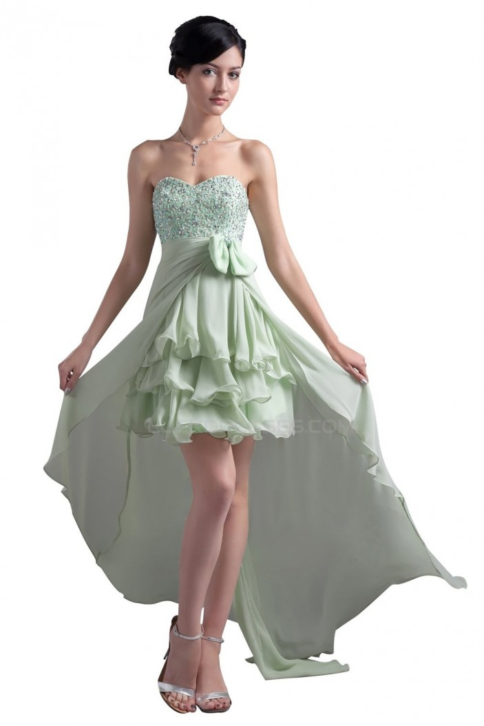 High Low Sweetheart Beaded Chiffon Prom Evening Formal Party Dresses ED010329
