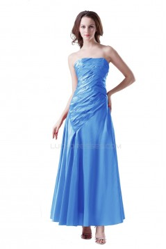 A-Line Strapless Long Blue Prom Evening Formal Party Dresses ED010331