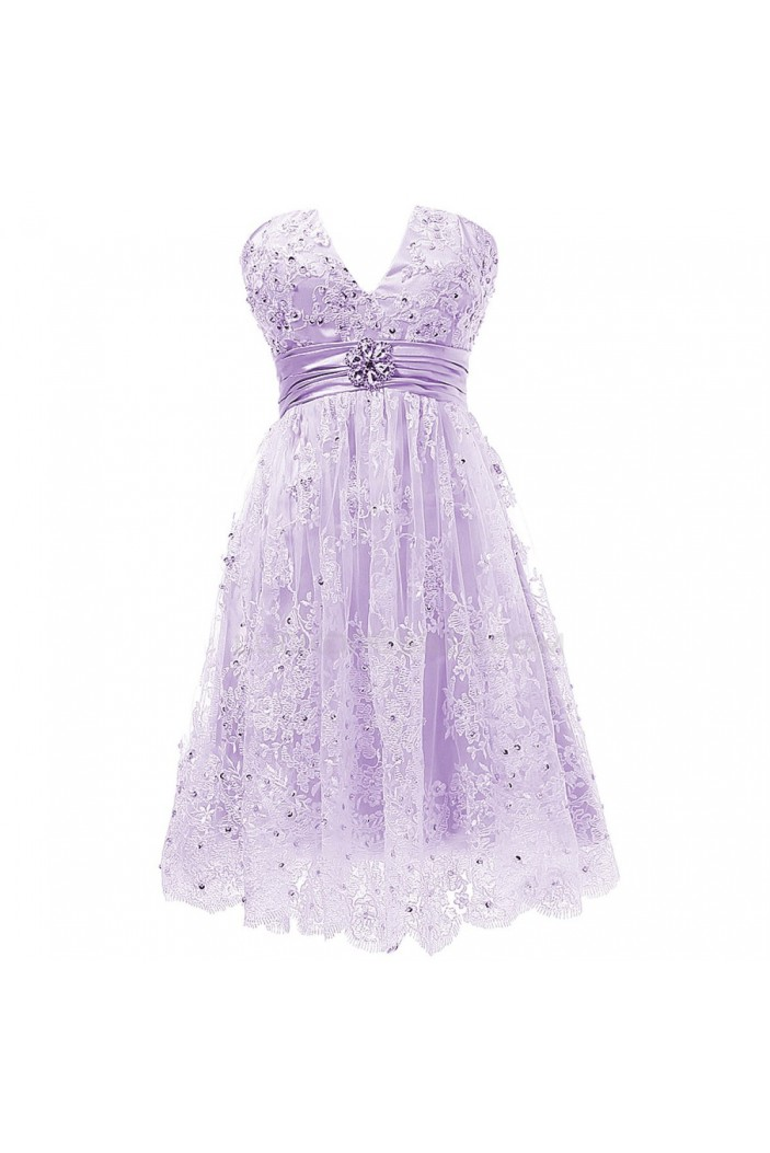 Short Purple Lace Prom Evening Formal Party Dresses ED010332