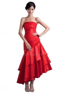 A-Line Strapless Short Red Prom Evening Formal Party Dresses ED010341