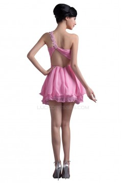 A-Line One-Shoulder Short Pink Prom Evening Formal Party Dresses ED010345