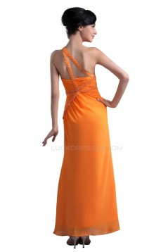 One-Shoulder Long Chiffon Beaded Prom Evening Formal Party Dresses ED010348