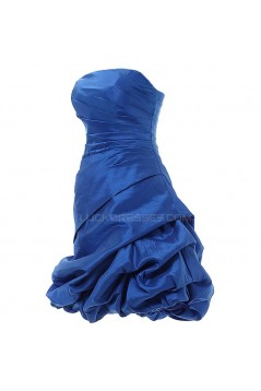 A-Line Strapless Short Blue Prom Evening Formal Party Dresses ED010349