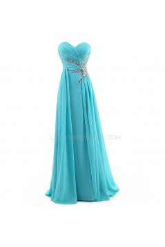 A-Line Sweetheart Long Blue Chiffon Prom Evening Formal Party Dresses ED010350
