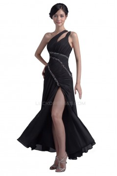One-Shoulder Long Chiffon Beaded Prom Evening Formal Party Dresses ED010352