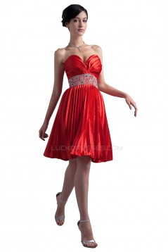 A-Line Sweetheart Short Red Beaded Prom Evening Formal Party Dresses ED010355