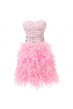 Beaded Strapless Short Pink Prom Evening Formal Party Dresses ED010356