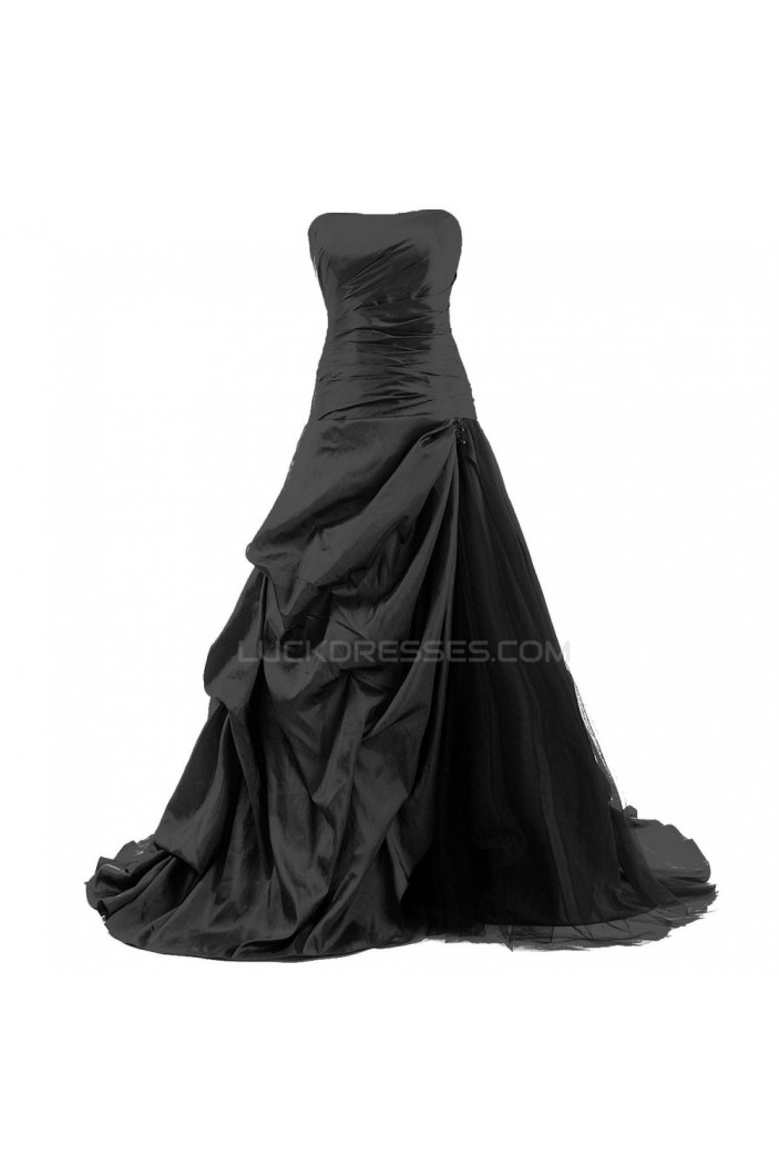 Long Black Strapless Prom Evening Formal Party Dresses ED010358