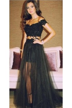 Two Pieces Off-the-Shoulder Dress Lace Appliques and Tulle Prom Evening Formal Party Dresses ED010359