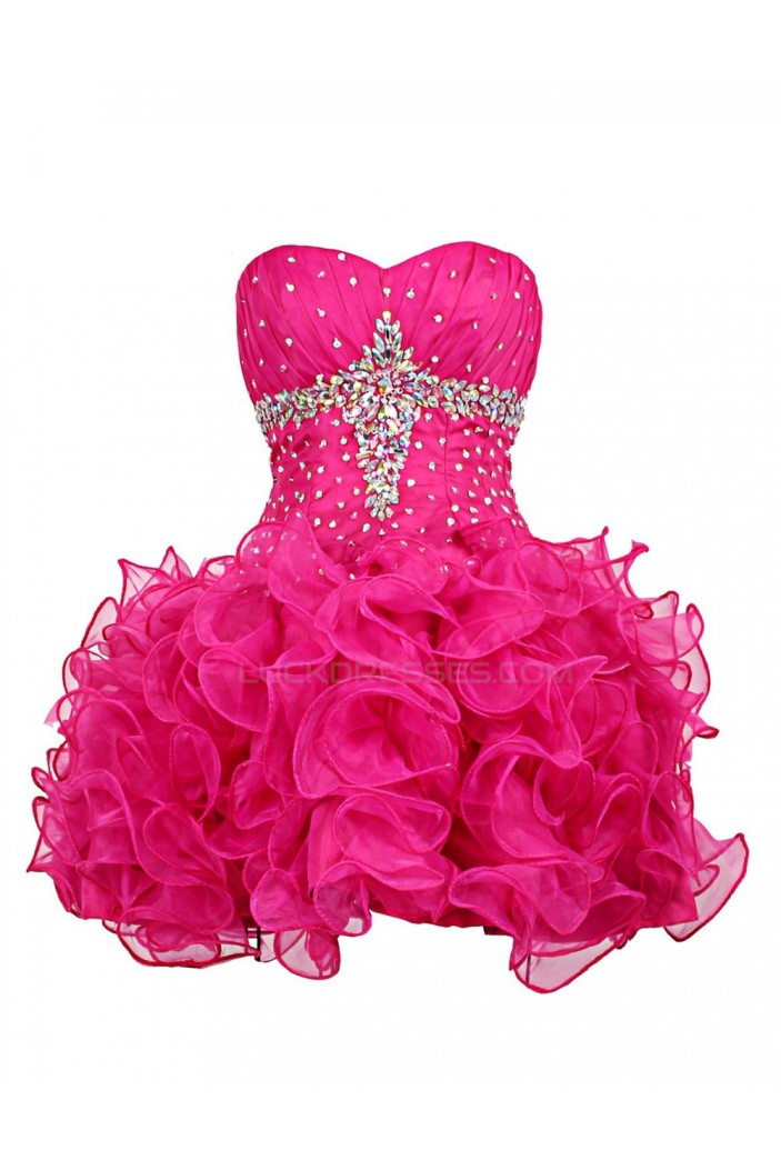 Short Pink Sweetheart Beaded Prom Evening Formal Party Dresses ED010361