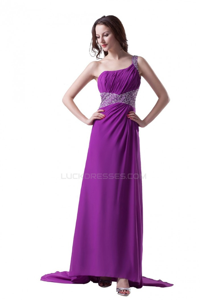 Long Purple One-Shoulder Beaded Chiffon Prom Evening Formal Party Dresses ED010363