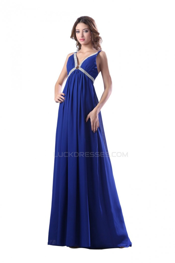 Long Blue Beaded Chiffon Prom Evening Formal Party Dresses ED010364