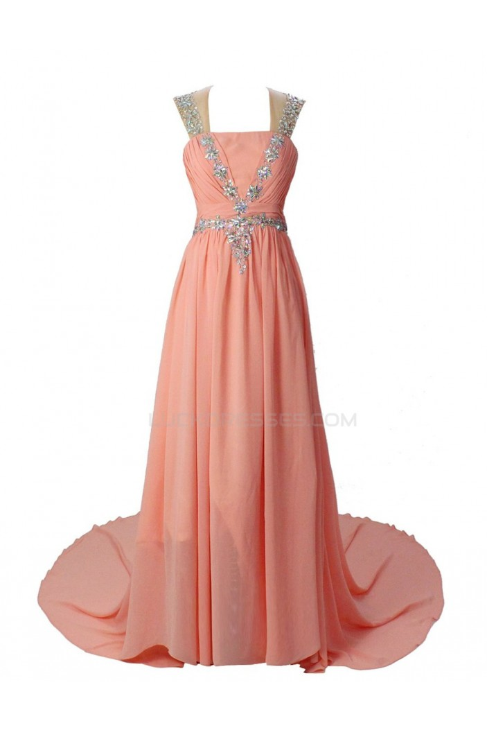 Long Pink Chiffon Beaded Prom Evening Formal Party Dresses ED010366