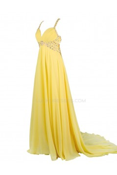 Beaded Long Yellow Chiffon Prom Evening Formal Party Dresses ED010367
