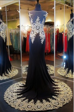 Amazing Beading Appliques Mermaid Tulle Neck Long Evening Dress ED010369