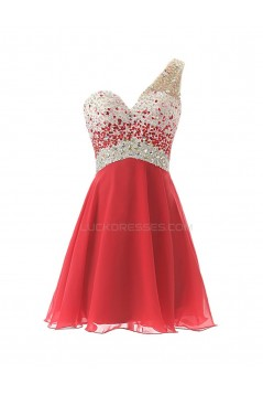 A-Line One-Shoulder Beaded Short Chiffon Prom Evening Formal Party Dresses ED010370