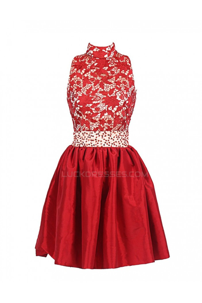 Short Red High Neck Prom Evening Formal Party Dresses ED010371