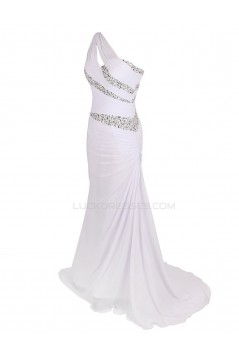 Trumpet/Mermaid One-Shoulder Beaded Long Chiffon Prom Evening Formal Party Dresses ED010373