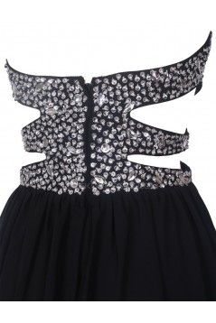 Long Black Beaded Chiffon Prom Evening Formal Party Dresses ED010375