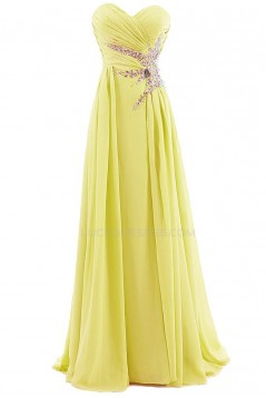 A-Line Sweetheart Long Blue Beaded Chiffon Prom Evening Formal Party Dresses ED010376