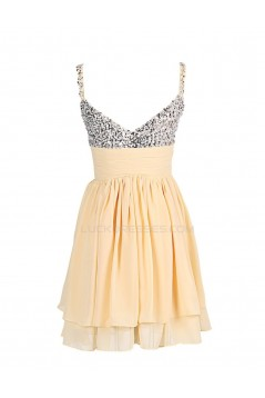 A-Line Spaghetti Strap Short Beaded Chiffon Prom Evening Formal Party Dresses ED010377