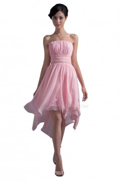 High Low Strapless Short Beaded Chiffon Prom Evening Formal Party Dresses ED010384