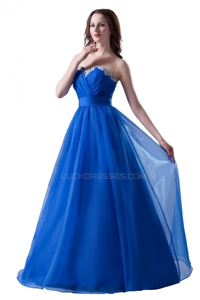 A-Line Sweetheart Long Blue Prom Evening Formal Party Dresses ED010386